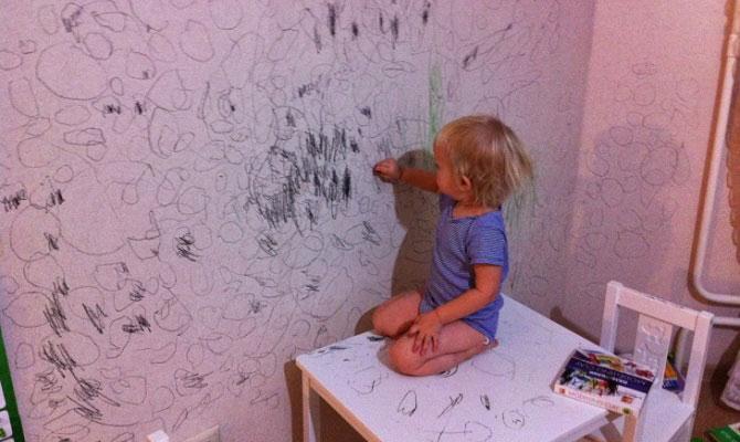 следы на стене от шариковой ручки