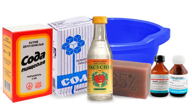 глицерин-сода-уксус-нашатырь